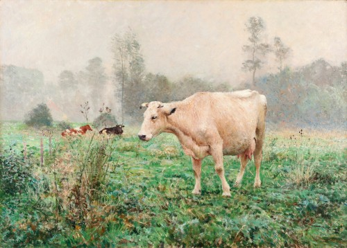 Emile Claus (1849-1924) Cows in the meadow