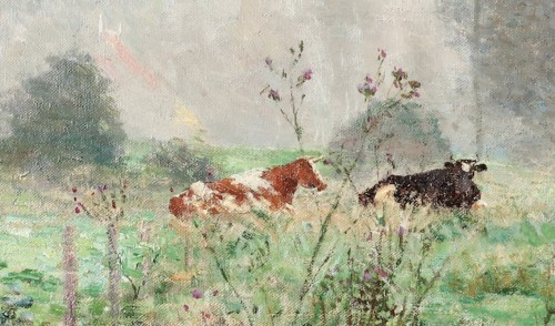 Paintings & Drawings  - Emile Claus (1849-1924) Cows in the meadow