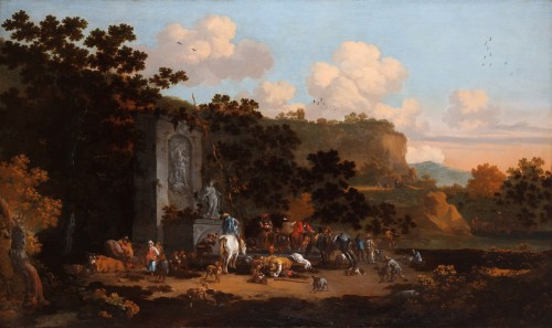 The stop at the old fountain by Pieter Bout (Brussels 1658-1719)
