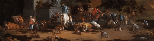 The stop at the old fountain by Pieter Bout (Brussels 1658-1719) - Paintings & Drawings Style
