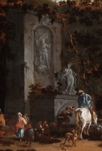 Paintings & Drawings  - The stop at the old fountain by Pieter Bout (Brussels 1658-1719)