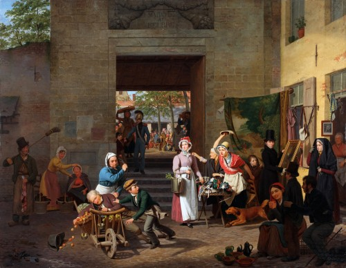 Charles Brias (Mechelen 1798-1885 Brussels) Le marché au beurre a Bruxelles
