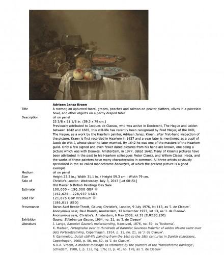 Adriaen Jansz Kraen (1619-1679) - Still life - Paintings & Drawings Style