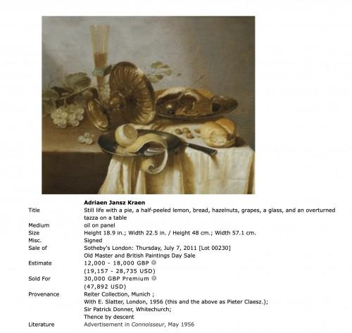 Paintings & Drawings  - Adriaen Jansz Kraen (1619-1679) - Still life