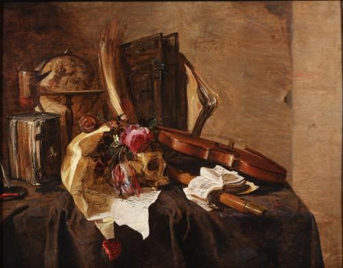 Jacques de Claeuw (1623-1694 - Vanitas still life with skull and violin
