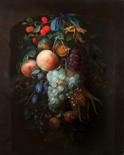 Pieter Gallis (1633-1697) -  A hanging garland of fruit
