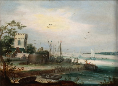Harbour landscape - Flemish school 17th century, follower of Jan Brueghel II