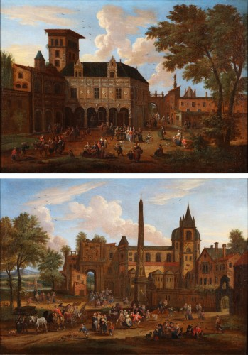 Animated town views - Pieter Bout  and Adriaen Franz. Boudewijns (1664-1719)