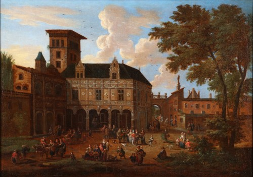Animated town views - Pieter Bout  and Adriaen Franz. Boudewijns (1664-1719) - Paintings & Drawings Style