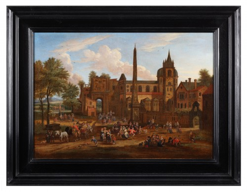 Paintings & Drawings  - Animated town views - Pieter Bout  and Adriaen Franz. Boudewijns (1664-1719)