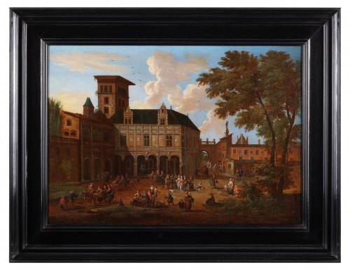 Animated town views - Pieter Bout  and Adriaen Franz. Boudewijns (1664-1719) -