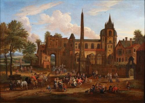 17th century - Animated town views - Pieter Bout  and Adriaen Franz. Boudewijns (1664-1719)