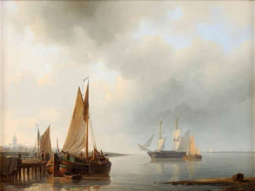 Ships before the harbor - Abraham Hulk Senior (1813-1897)