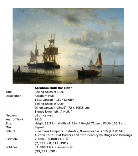 Ships before the harbor - Abraham Hulk Senior (1813-1897) -