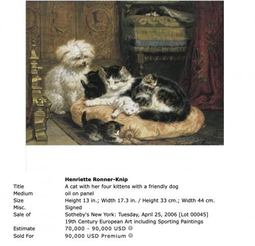 19th century - Playfull youth  - Henriette Ronner (1821-1909)