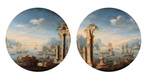 Two capriccio's of mediterranean harbours attributed to Orazio Grevenbroeck