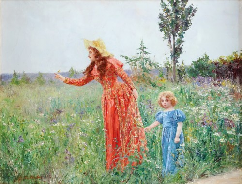 Mother and Child picking flowers  - Georges van den Bos (1853-1911)