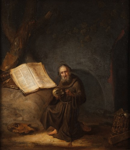 A hermit reading the Marcus gospel - Jacob van Spreeuwen (1611-1650)