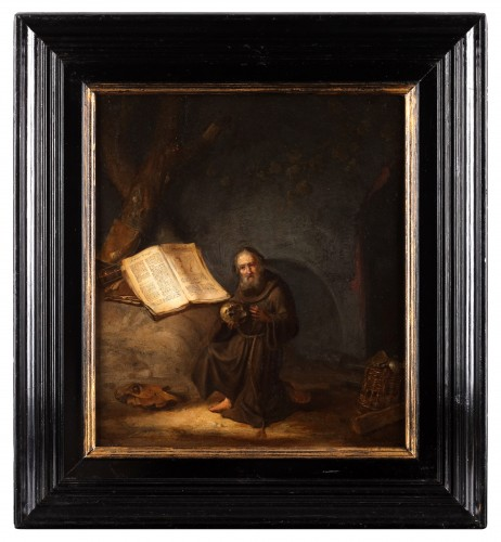 A hermit reading the Marcus gospel - Jacob van Spreeuwen (1611-1650)  - Paintings & Drawings Style