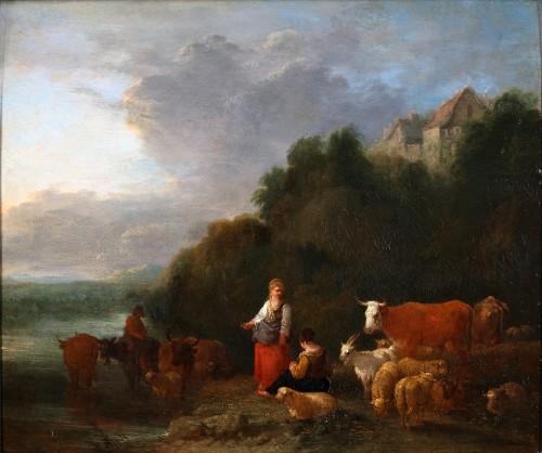 Taking a rest near the river - Théobald Michau (1676-1765)