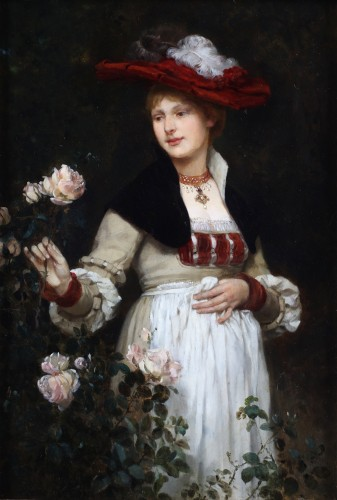 Portrait of a lady with flowers by Eduard Niczky (1850-1919)