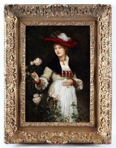 Portrait of a lady with flowers by Eduard Niczky (1850-1919) - Paintings & Drawings Style