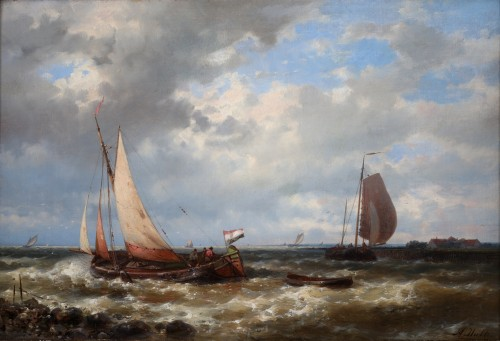 Ships near the coast by Abraham Hulk senior  (1813-1897)