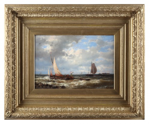 Ships near the coast by Abraham Hulk senior  (1813-1897) - Paintings & Drawings Style