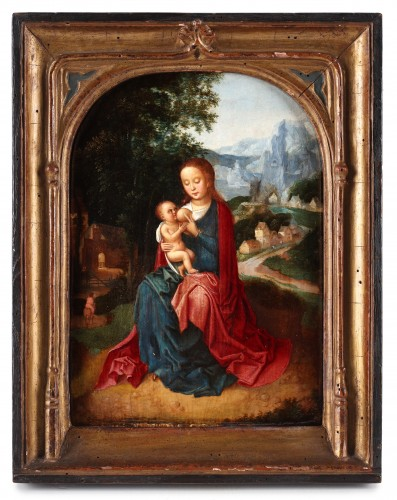 Virgin with child in a landscape - Flemish school of the 16th century