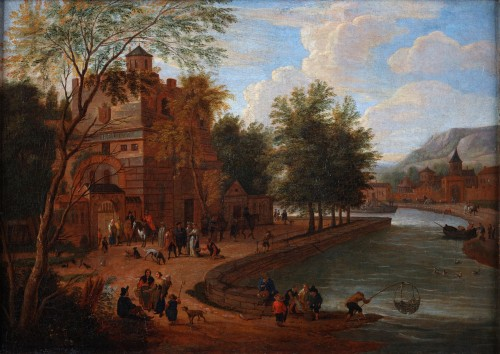 An animated town view aside a river - Matthijs Schoevaerdts (1665-1702)
