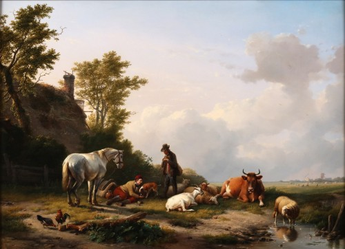 A moment of rest - Eugene Verboeckhoven (1798-1881)