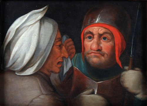 Paintings & Drawings  - Woman and soldier - Attributed to Pieter Balten