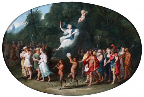 Venus and Cupid, surrounded by couples, satyrs and the Olympic gods
