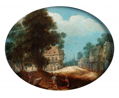 Adriaen van Stalbemt, an animated village town - Paintings & Drawings Style