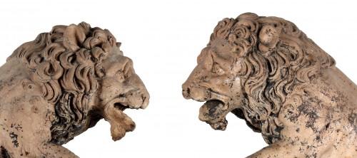 Pair of lions in terracotta - Sculpture Style