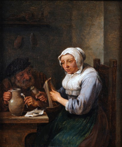 David Teniers the Younger (1610  1690) - A woman twisting wool and a man at a table holding a pipe.