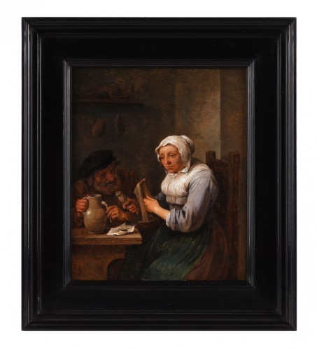 David Teniers the Younger (1610  1690) - A woman twisting wool and a man at a table holding a pipe. - Paintings & Drawings Style