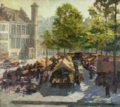 Alfons de Cuyper (1887-1950) - Activities on the Vrijdagsmarkt in Ghent with 'Het Toreken,' on the left
