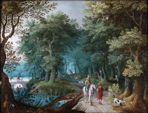 Landscape with deer hunt - attributed to Willem van den Bundel (1575-1655)