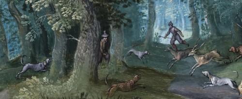 17th century - Landscape with deer hunt - attributed to Willem van den Bundel (1575-1655)