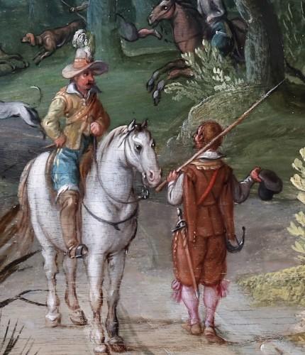 Landscape with deer hunt - attributed to Willem van den Bundel (1575-1655) -