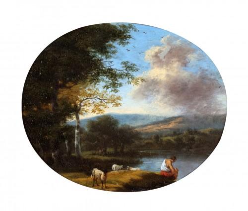 Willem de Heusch (1625 - 1692) -  Shepherd taking a rest near the water, while his flock is grazing.