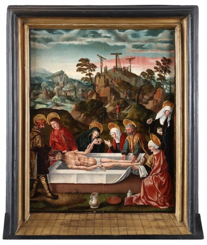 - The Entombment of Christ  in front of Jerusalem and the hill of Golgotha