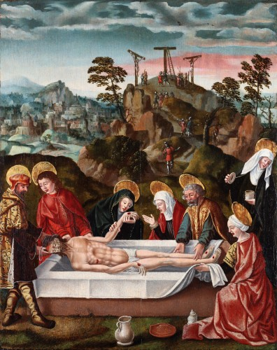 Antiquités - The Entombment of Christ  in front of Jerusalem and the hill of Golgotha