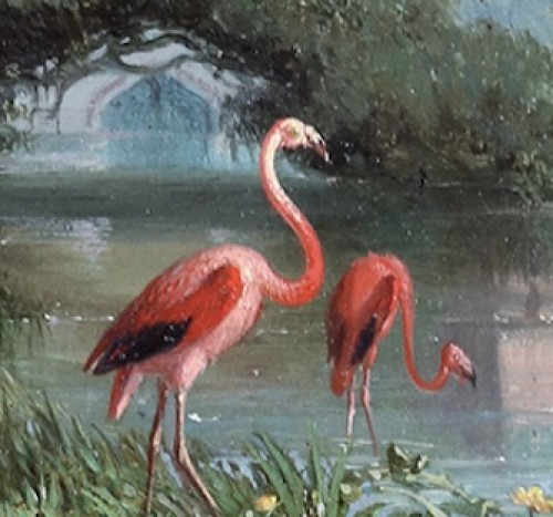 19th century - Théophile Victor Emile Lemmens (1821 – 1867) - Pink flamingos standing by the water in front of an oriental temple