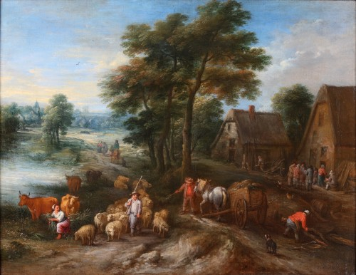 An animated landscape with peasants at work - Théobald Michau (1676-1765) - Paintings & Drawings Style