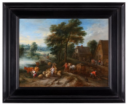 Paintings & Drawings  - An animated landscape with peasants at work - Théobald Michau (1676-1765)