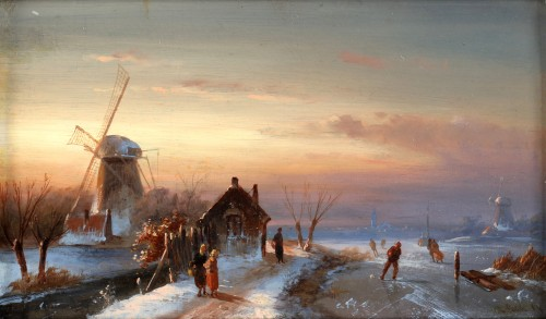 Skaters on ice - Charles Leickert (1816 - 1907) - Paintings & Drawings Style