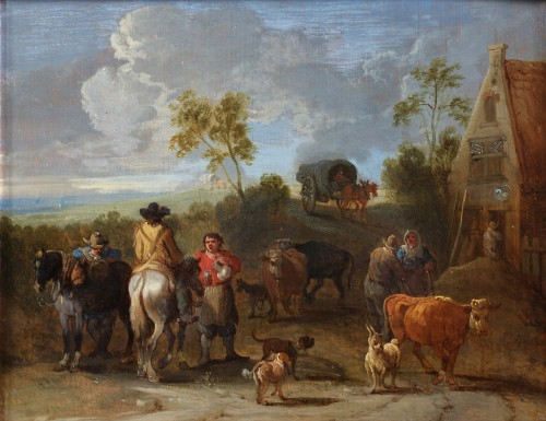 Peasants in front of an Inn - Théobald Michau (1676-1765) - Paintings & Drawings Style