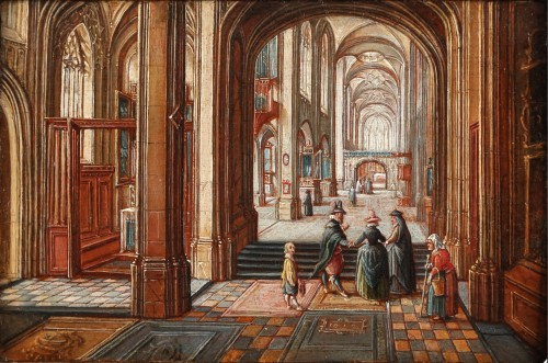 A gothic church interior - attributed to Hendrick van Steenwijck II - Paintings & Drawings Style